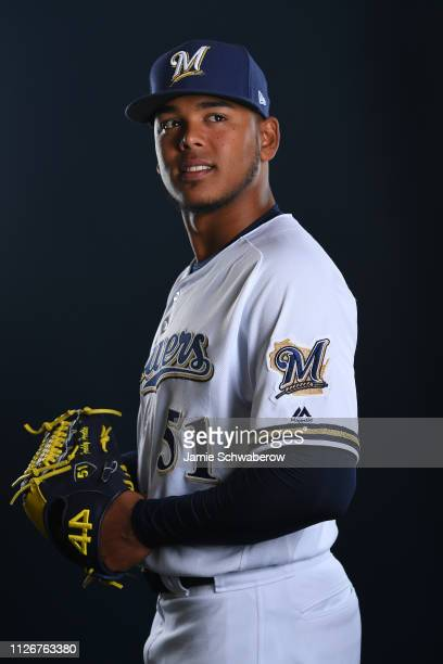 Freddy Peralta of the Milwaukee Brewers poses during the Brewers Photo Day on February 22 2019 in Maryvale Arizona