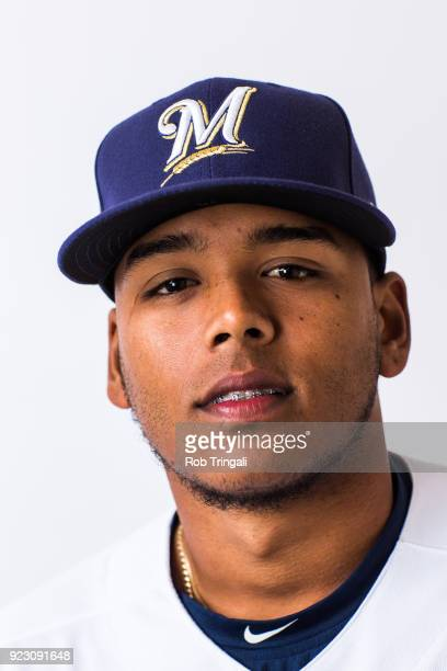 Freddy Peralta of the Milwaukee Brewers poses for a portrait during Photo Day at the Milwaukee Brewers Spring Training Complex on February 22 2018 in...