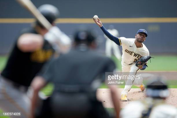 Freddy Peralta of the Milwaukee Brewers throws a pitch in the first inning against the Pittsburgh Pirates at American Family Field on August 04, 2021...