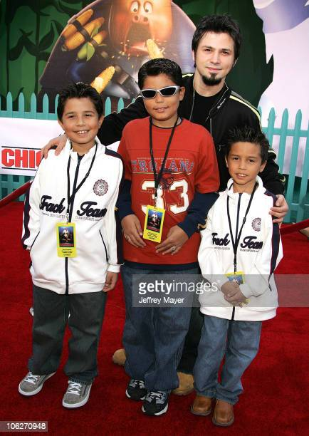 Freddy Rodriguez and children during Disney's Chicken Little Los Angeles Premiere Arrivals at El Capitan in Hollywood California United States