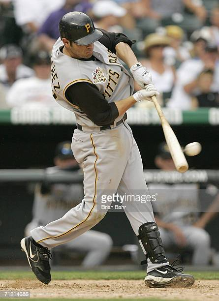 Freddy Sanchez of the Pittsburgh Pirates bats against the Colorado Rockies on June 7 2006 at Coors Field in Denver Colorado The Rockies won 169