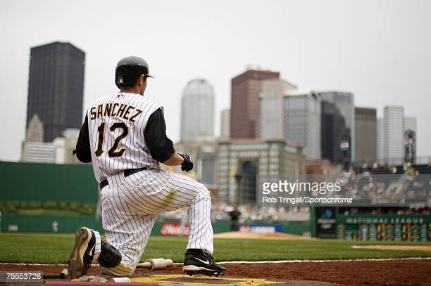 Freddy Sanchez of the Pittsburgh Pirates looks on from the on-deck circle against the Los Angeles Dodgers on June 3, 2007 at PNC Park in Pittsburgh,...