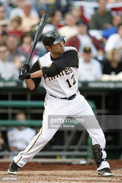 Freddy Sanchez of the Pittsburgh Pirates swings at a pitch against the Chicago Cubs during the Home Opener for the Pittsburgh Pirates on April 7 2008...