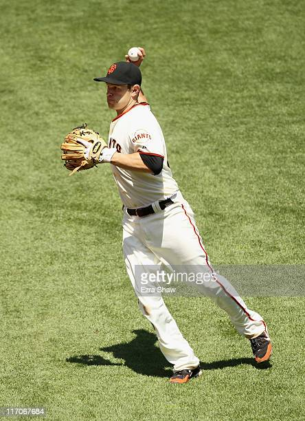 Freddy Sanchez of the San Francisco Giants in action against the Washington Nationals at ATT Park on June 8 2011 in San Francisco California