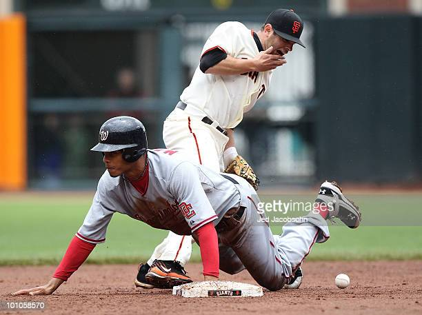 Freddy Sanchez of the San Francisco Giants is kicked in the face on a steal by Justin Maxwell of the Washington Nationals during an MLB game at ATT...