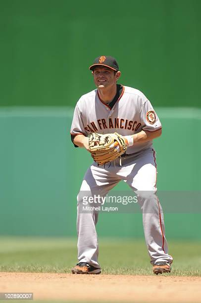 Freddy Sanchez of the San Francisco Giants prepares for a ground ball during a baseball game against the Washington Nationals on July 11 2010 at...