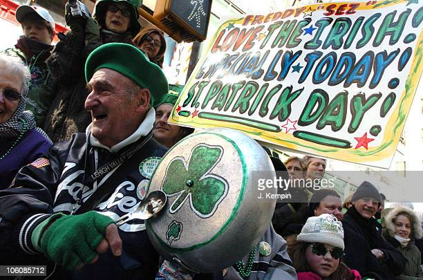 Freddy Sez Schuman participants in the 245th St Patrick's Day Parade in New York City on March 17th 2006
