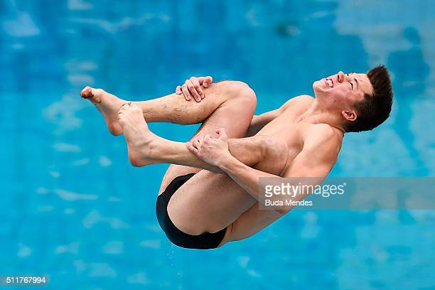 Freddy Woodward of Great Britain competes in the men's 3m springboard semifinal as part of the 2016 FINA Diving World Cup at Maria Lenk Aquatics...