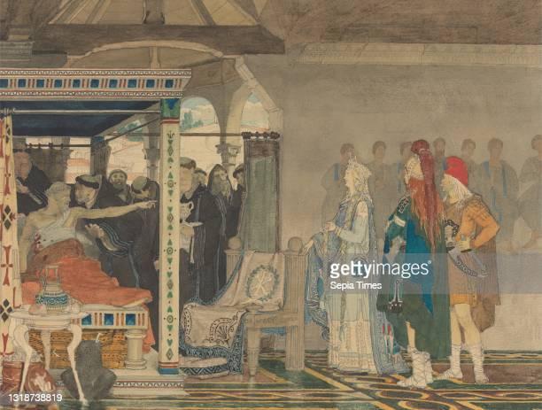 Fredegonda at the Deathbed of Praetextatus, Lawrence Alma-Tadema, 1836–1912, Dutch, active in Britain , ca. 1864, Watercolor and graphite on medium,...
