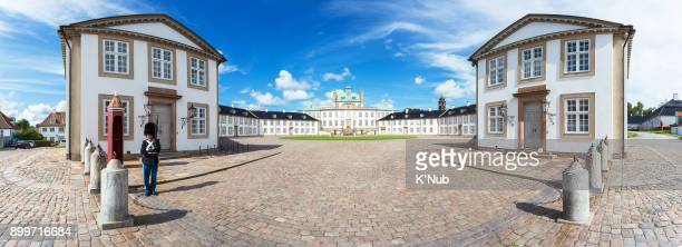 Fredensborg Palace in summer, with security solider, Copenhagen, Denmark