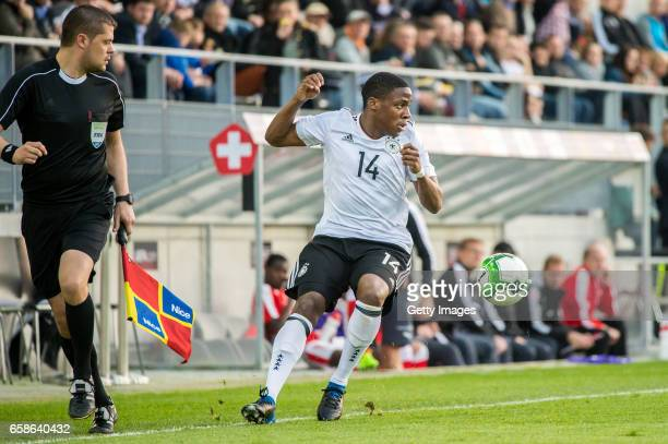 Frederic Ananou in action during the U20 international friendly match between U20 Switzerland and U20 Germany at Tissot Arena on March 27 2017 in...