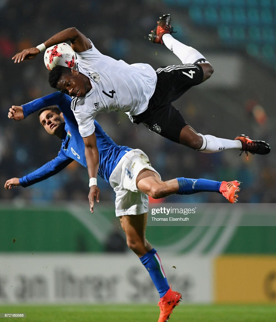 Frederic Ananou (R) of Germany and Alessandro Rossi of Italy vie for the ball during the Under 20 International Friendly match between U20 of Germany and U20 of Italy at community4you Arena on November 9, 2017 in Chemnitz, Germany.