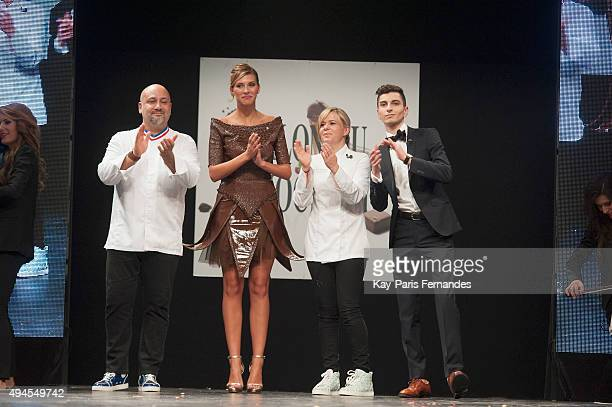 Frederic Anton Miss France 2015 Camille Cerf Christelle Brua and Reouven Zana walk the runway during the Chocolate fashion show as a part of the...