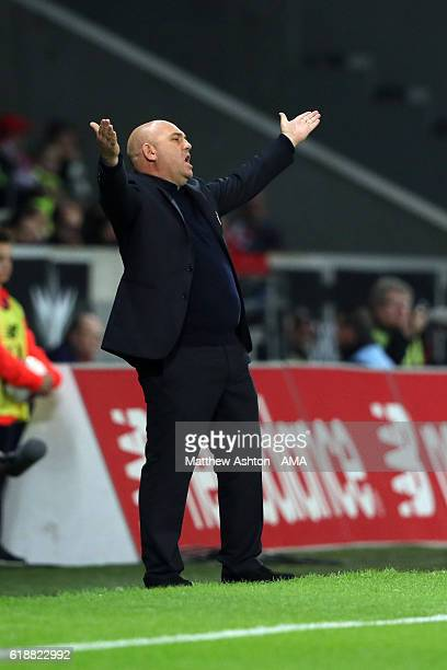 Frederic Antonetti head coach of Lille OSC reacts during the French Ligue 1 match between Lille and Paris Saint Germain at Stade PierreMauroy on...