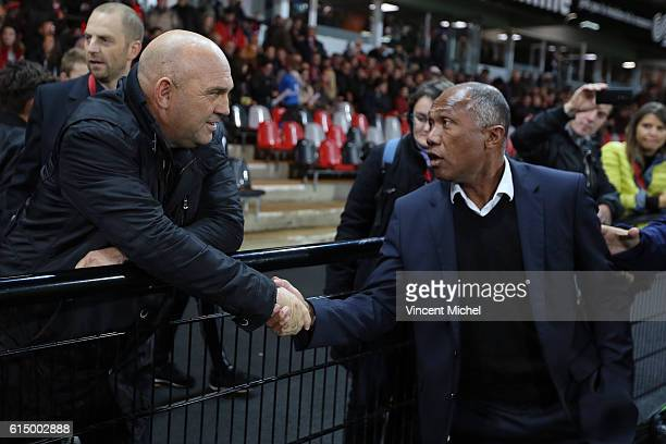 Frederic Antonetti, headcoach of Lille and Antoine Kombouare of Guingamp during the Ligue 1 match between EA Guingamp and Lille OCS at Stade du...