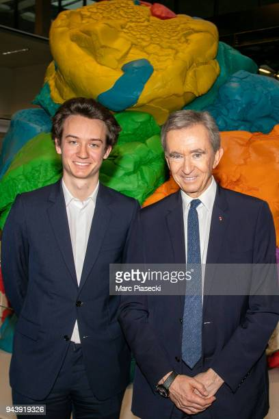 Frederic Arnault and Bernard Arnault attend the 'LVMH StartUp Accelerator' opening ceremony at 'Station F' on April 9 2018 in Paris France