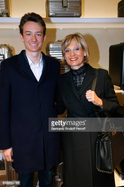Frederic Arnault and Helene Arnault attend the Opening of the Boutique Rimowa 73 Rue du Faubourg Saint Honore in Paris on March 6 2017 in Paris France