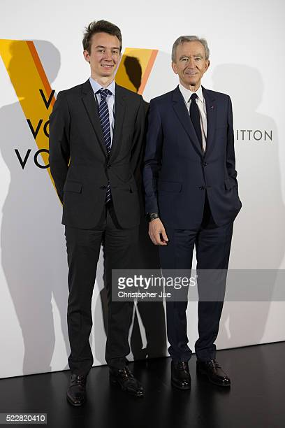 Frederic Arnault and LVMH Chairman and CEO Bernard Arnault attend the Louis Vuitton Exhibition Volez Voguez Voyagez on April 21 2016 in Tokyo Japan