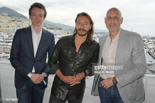Frederic Arnault TAG Heuer Chief Stategy and Digital Officer DJ Bob Sinclar and Stephane Bianchi CEO of the LVMH Watchmaking Division and CEO of TAG...
