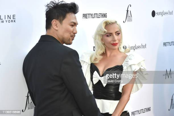 Frederic Aspiras and Lady Gaga attend The Daily Front Row Fifth Annual Fashion Los Angeles Awards at Beverly Hills Hotel on March 17 2019 in Beverly...