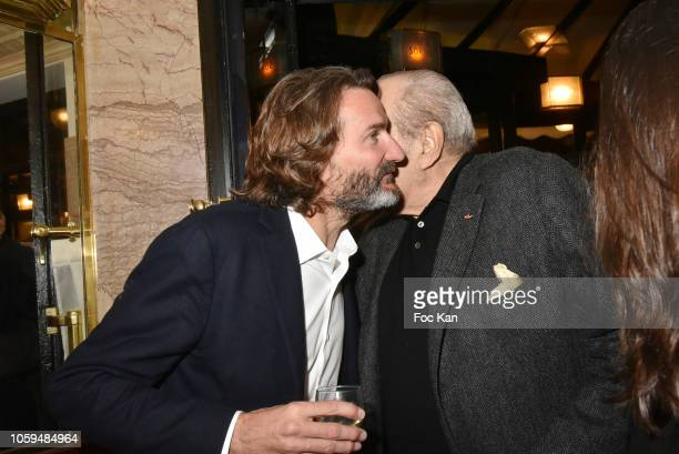 Frederic Beigbeder and Pierre Benichou attend the 'Prix De Flore 2018' Literary Prize Winner Announcement At Cafe De Flore on November 8 2018 in...
