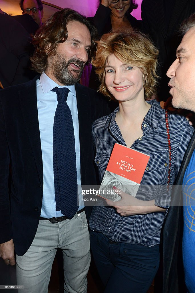 Frederic Beigbeder, Monica Sabolo and Philippe Vandel attend the Prix de Flore 2013' : Ceremony Cocktail At Cafe De Flore on November 7, 2013 in Paris, France.
