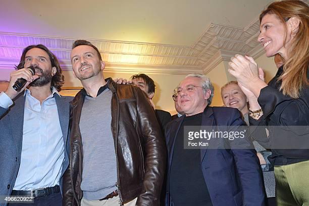 "Frederic Beigbeder, Prix de Flore 2015 winner Jean-Noel Orengo , Arnaud Viviant and Carole Chretiennot attend the ""Prix De Flore 2015 : "" Literary..."