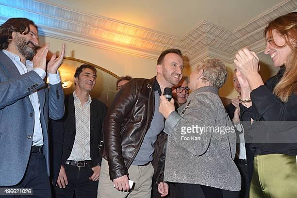 Frederic Beigbeder, Prix de Flore 2015 winner Jean-Noel Orengo , Colette Siljegovic owner of Cafe de Flore, her daughter Carole Chretiennot attend...