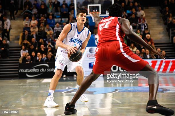 Frederic Bourdillon of Antibes and Bangaly Fofana of Monaco during the french Pro A match between Antibes Sharks and As Monaco on February 10 2017 in...
