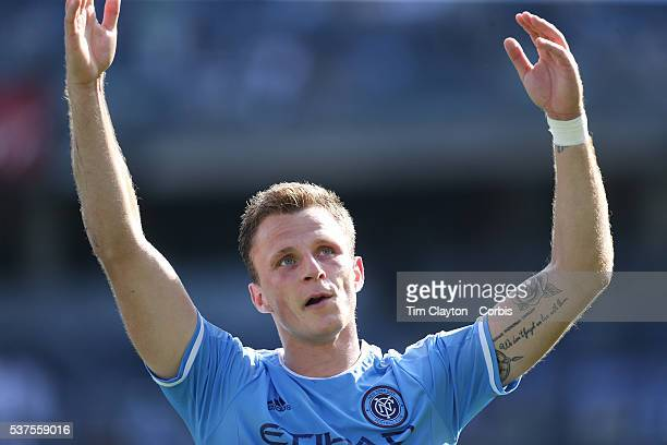 Frederic Brillant of New York City FC salutes the crowd after scoring during the New York City FC Vs Orlando City MSL regular season football match...