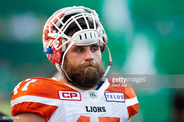 Frederic Chagnon of the BC Lions on the sideline during the game between the BC Lions and the Saskatchewan Roughriders at Mosaic Stadium on August 13...