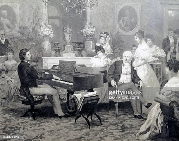 Frederic Chopin playing the piano in Prince Antoni Radziwill's living room 1829 Varsavia Muzeum Fryderyka Chopina