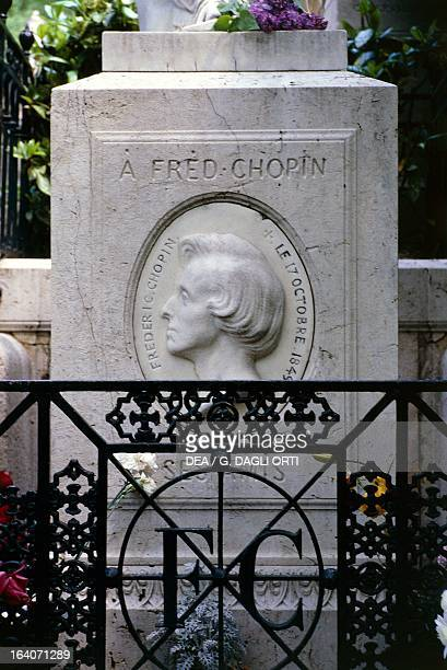 Frederic Chopin's tomb in PereLachaise cemetery Paris France Detail