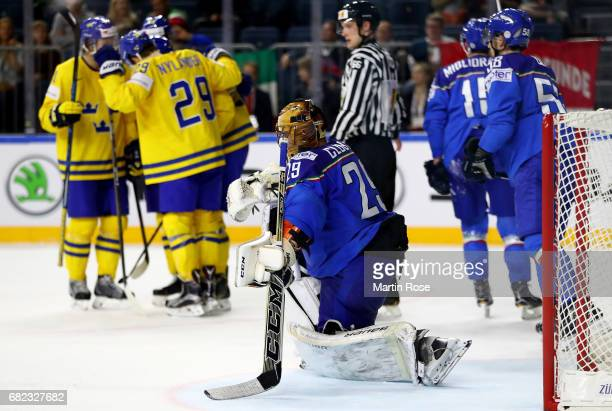 Frederic Cloutier goaltender of Italy looks dejected during the 2017 IIHF Ice Hockey World Championship game between Sweden and Italy at Lanxess...