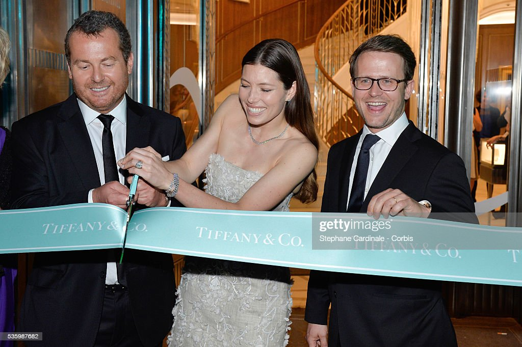 Frederic Cumenal (President of Tiffany & Co), Jessica Biel and Marc Jacheet (Managing Director Tiffany & Co France and Benelux) attend the Tiffany & Co Flagship Opening on the Champs Elysee on June 10, 2014 in Paris, France.