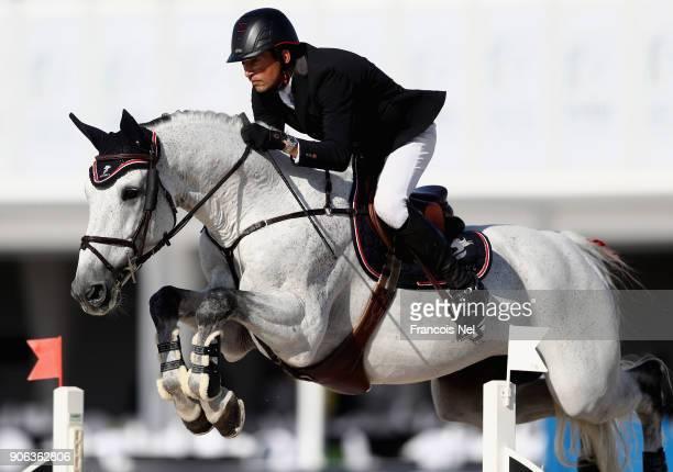Frederic David of France rides Baloussini during the Dubai Show Jumping Championships on January 18 2018 in Dubai United Arab Emirates