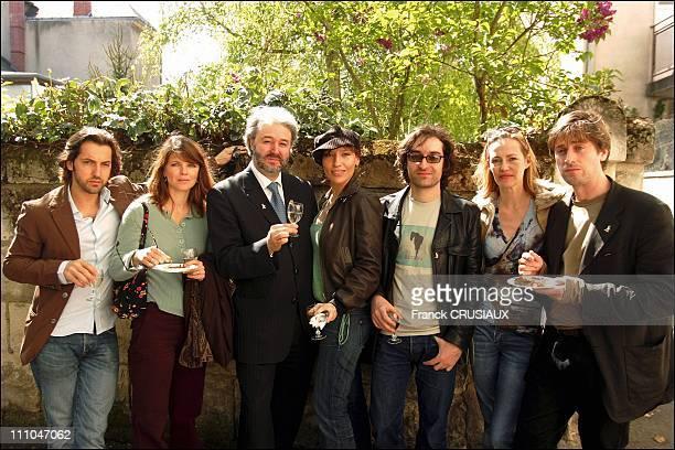 Frederic Diefenthal, Gwendoline Hamon, Philippe Faure-Brac, sommelier, Julie Debazac, Mathieu Demy, Gabrielle Lazure and Thomas Dutronc in Saumur,...