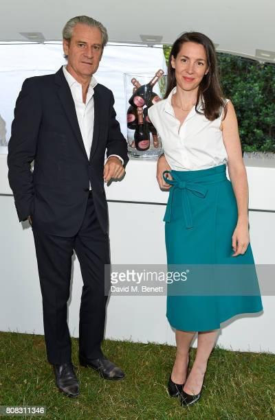 Frederic Dufour and Victoria Siddall attend Ruinart reception to launch Frieze Sculpture 2017 in Regent's Park and VIP dinner at Berners Tavern on...