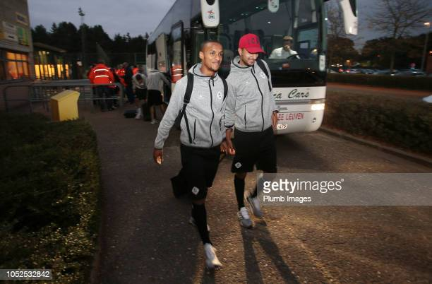 Frederic Duplus and Ahmed Touba of OH Leuven arrive at Het Kuipje ahead of the Proximus League match between KVC Westerlo and OH Leuven at Het Kuipje...