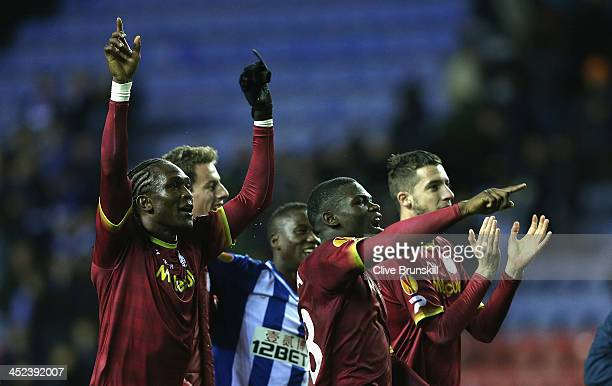 Frederic Duplus and Habib Habibou of SV Zulte Waregem celebrate their teams victory at the final whistle during the UEFA Europa League Group D match...