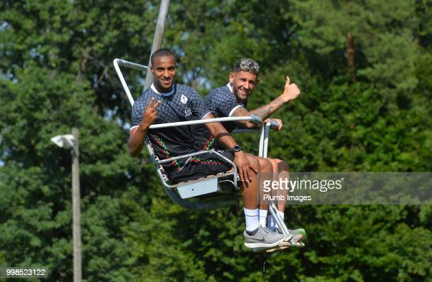 Frederic Duplus with Esteban Casagolda during team bonding activities during the OHL Leuven training session on July 09 2018 in Maribor Slovenia