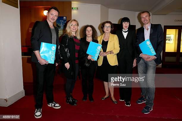 Frederic Fontan Natalie Dessay Claudine Drai Michele Barzach Chantal Thomass and Nicolas Le Riche attend the 'Frimousses de Createurs 2014' Press...
