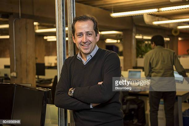 Frederic Fred Laluyaux president and chief executive officer of Anaplan Inc centre stands for a photograph at the company's headquarters in San...