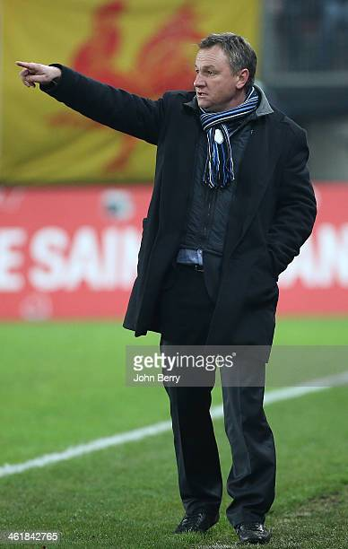 Frederic Hantz coach of Bastia looks on during the french Ligue 1 match between Valenciennes FC and SC Bastia at the Stade du Hainaut on January 11...