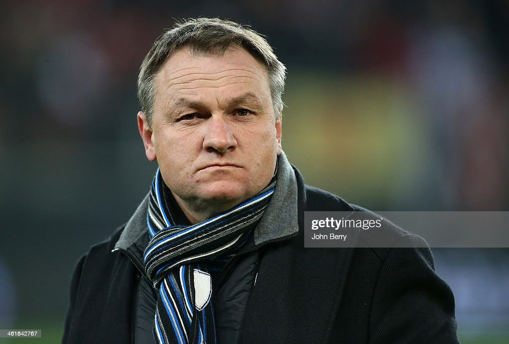 Frederic Hantz, coach of Bastia looks on during the french Ligue 1 match between Valenciennes FC and SC Bastia at the Stade du Hainaut on January 11, 2014 in Valenciennes, France.