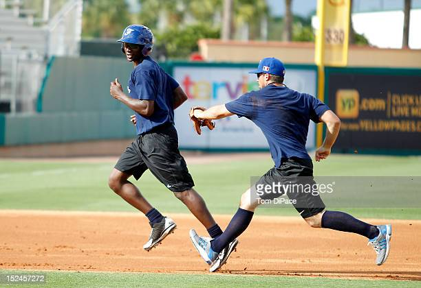 Frederic Hanvi of Team France is seen practicing during the workout for the World Baseball Classic Qualifier at Roger Dean Stadium on September 18,...