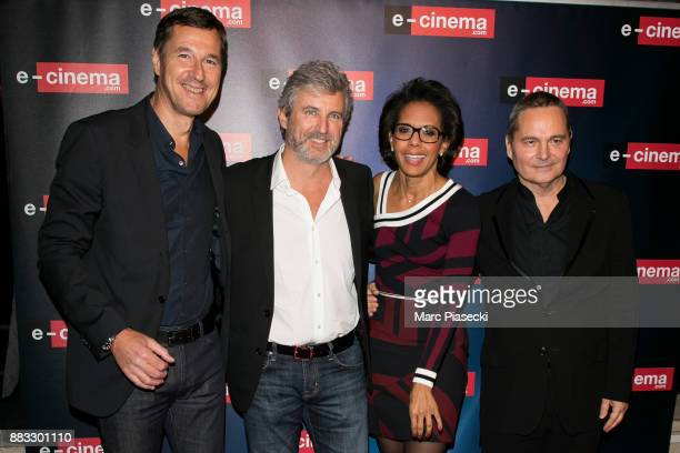Frederic Houzelle Roland Coutas Audrey Pulvar and Bruno Barde attend the 'ECinemacom' launch party at restaurant 'L'Ile' on November 30 2017 in...