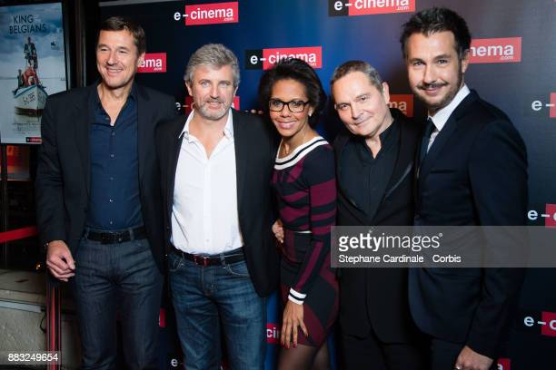Frederic Houzelle Roland Coutas Audrey Pulvar Bruno Barde and guest attend 'ecinemacom' Launch Party at Restaurant L'Ile on November 30 2017 in...