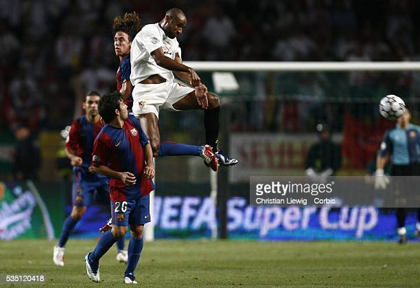 Frederic Kanoute jumps during the 2006 UEFA Super Cup match between FC Barcelona and Sevilla FC