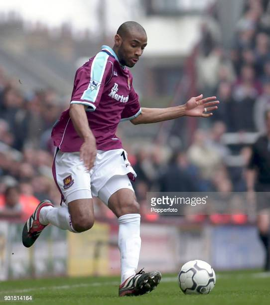 Frederic Kanoute of West Ham United in action during the FA Carling Premiership match between West Ham United and Derby County at Upton Park in...